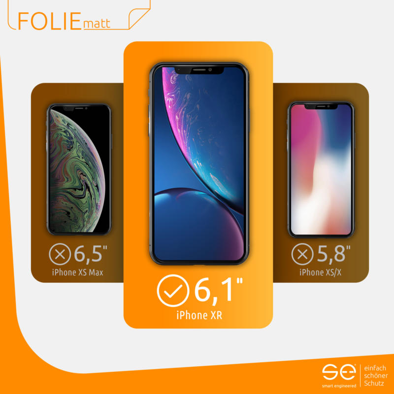 Apple iPhone XR Schutzfolie Front matt kompatibel
