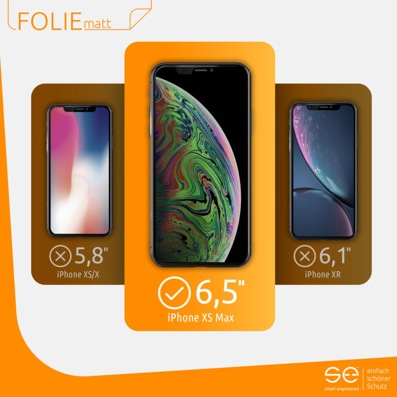 Apple iPhone XS Max Schutzfolie Front matt kompatibel